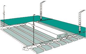 Схема крепления реечного потолка со светильником Как устроен реечный подвесной потолок?  Он состоит из реек...