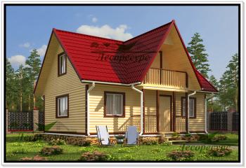 Дом из бруса 7 на 8 с балконом, проект шуя.