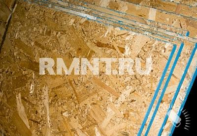 Монтаж на пол древесных плит OSB