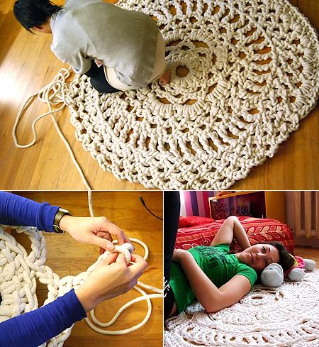 Плетение половика из веревки по методу вязания крючком, такой коврик...