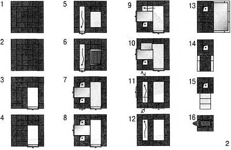 """2 - Схема кладки печи,  """"порядовка  """" Приведенная на рисунке печка-каменка прогревает парную до 80 С. Печка долгое время."""