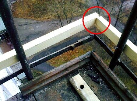 Обрешетка балкона под профнастил.