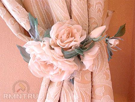 Цветы из вуали своими руками для штор