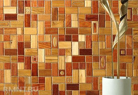 Мозаика из дерева конечно смотрится