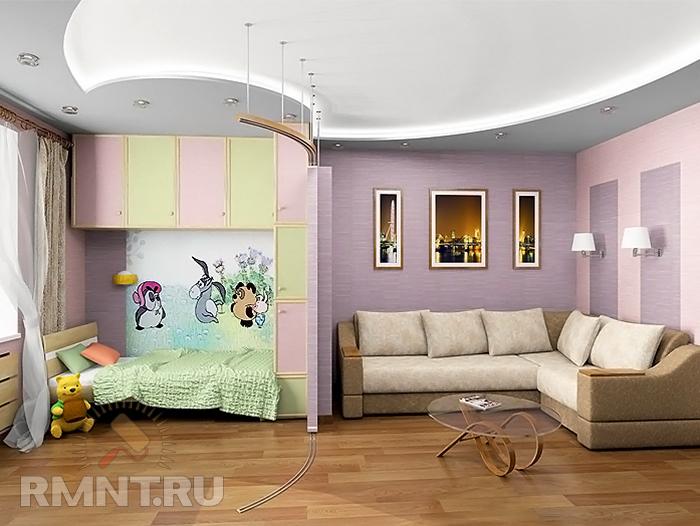 Фото дизайна однокомнатной квартиры с детской зоной