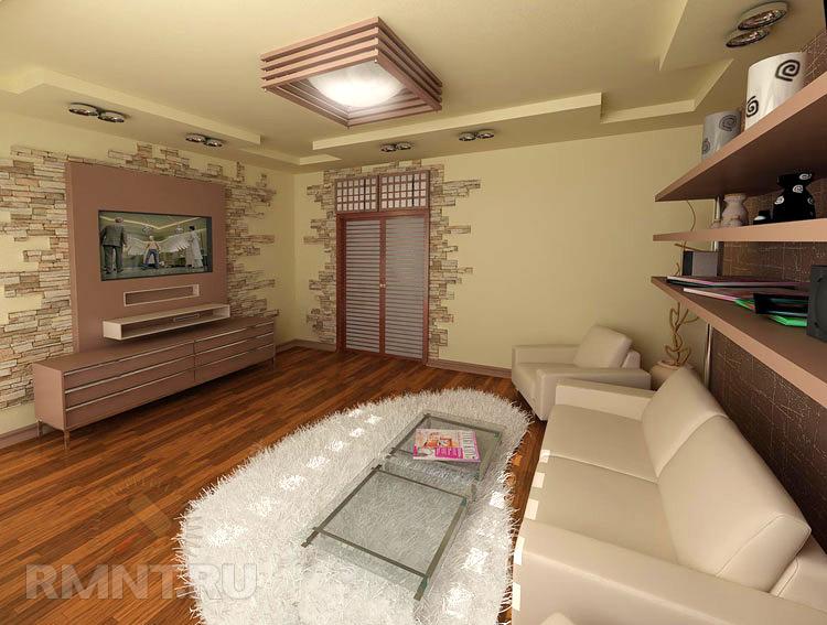 Дизайн гостиной с камнем фото