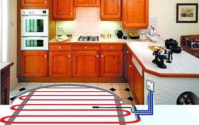 фото: водяной теплый пол на кухне.