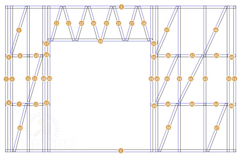 Пример сборочного чертежа панели из ЛСТК
