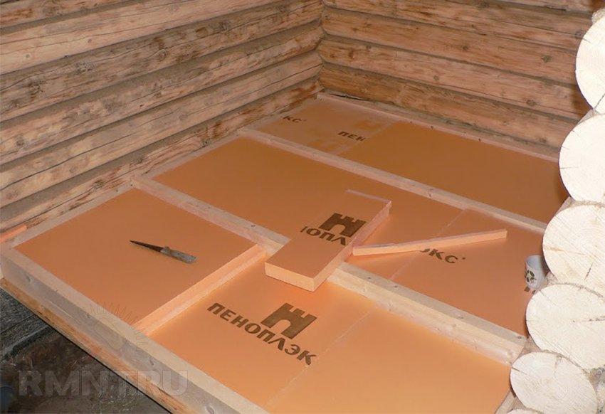 Утепление пеноплексом деревянного пола в бане