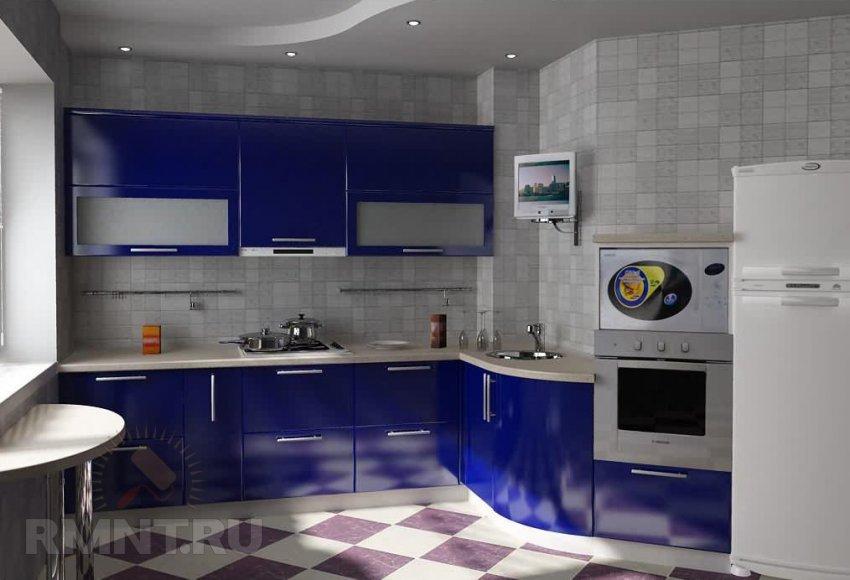 Дизайн кухни в 12 кв.с диваном