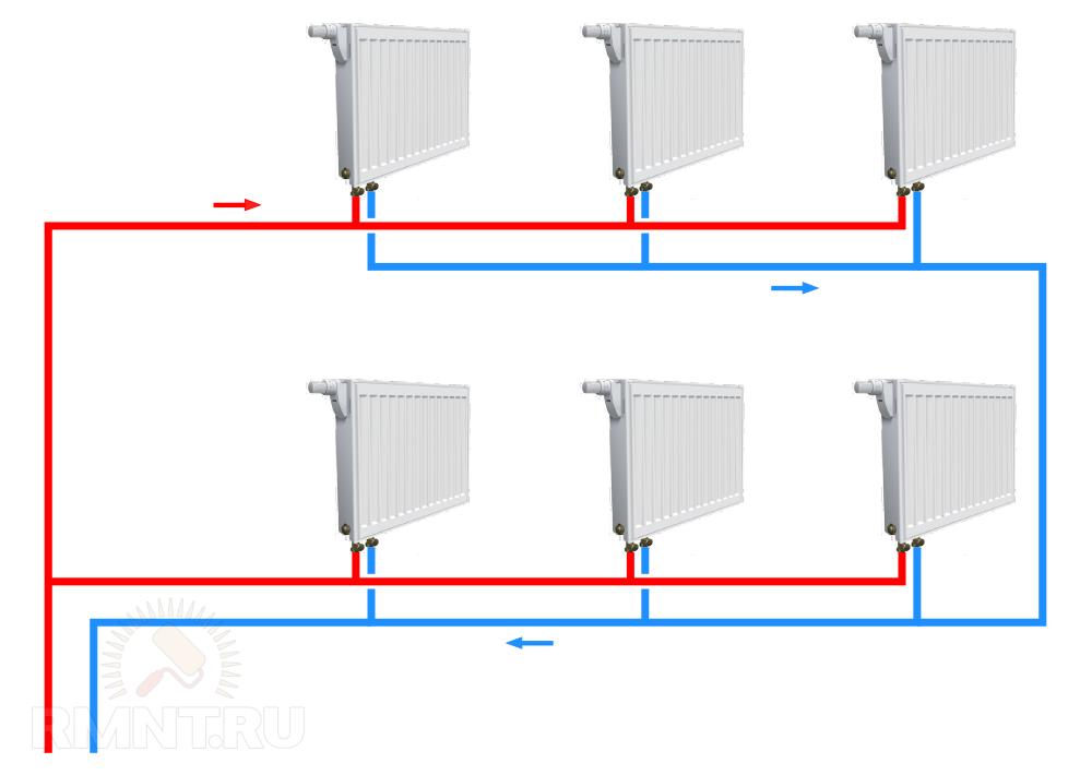 Попутная схема системы отопления петля тихельмана фото 470
