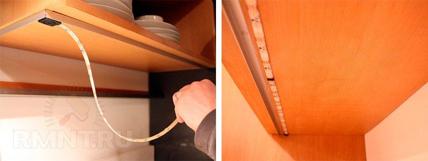 как смонтировать светодиодную ленту на кухне