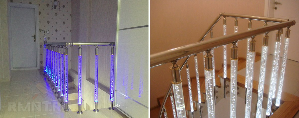 Варианты подсветки лестницы в доме