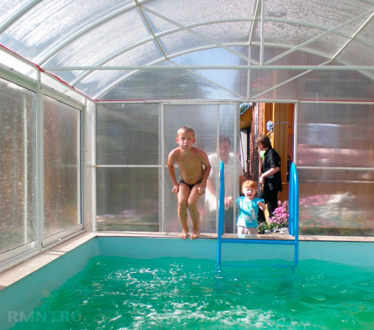 Бассейн в теплице: примеры, особенности, плюсы