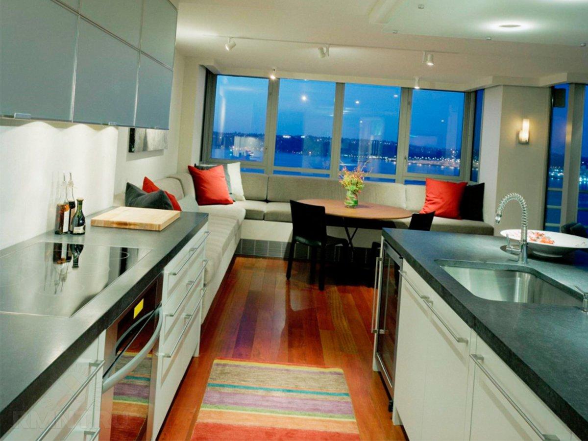 Дизайн кухонь объединенных с лоджией
