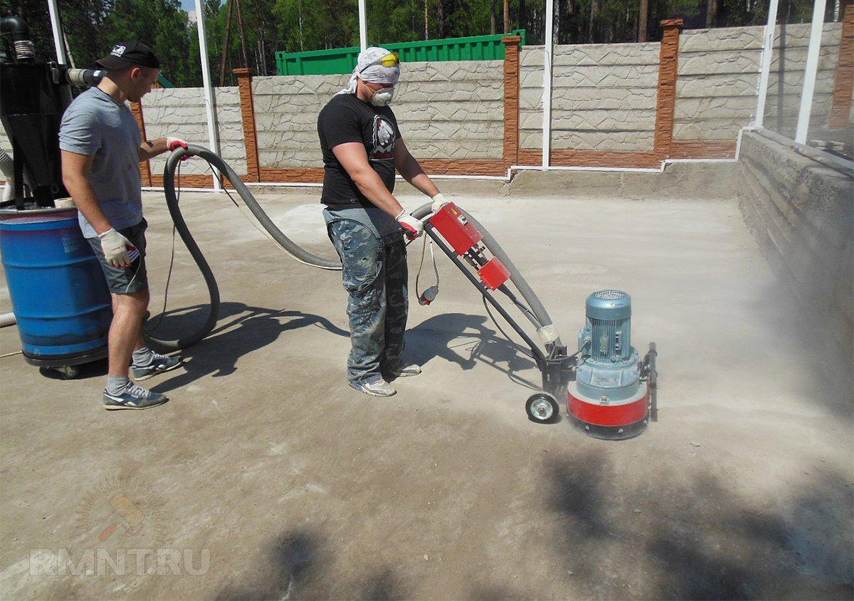 Шлифовка бетона для нанесения резиновой крошки