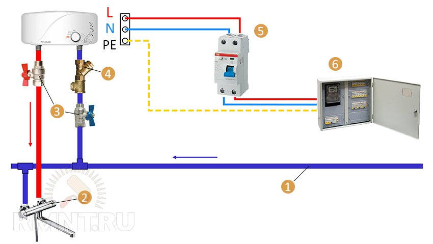 Схема подключения проточного