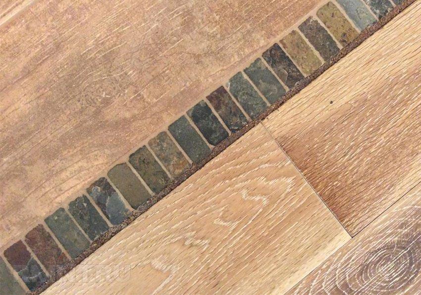 Стык плитки и ламината — жидкая пробка или порожек