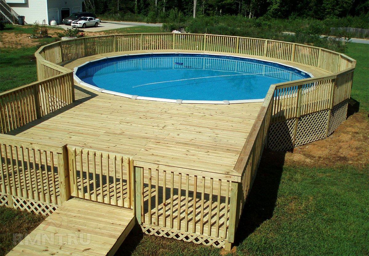 Каркасный бассейн с подиумом