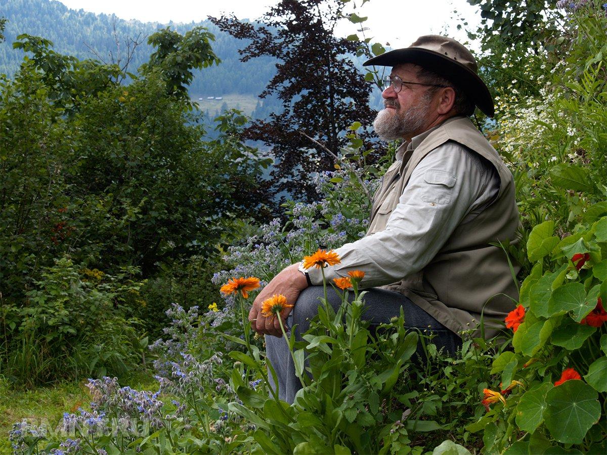 Зепп Хольцер на своей альпийской ферме