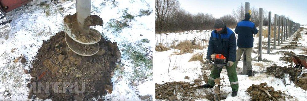 Строительство забора зимой