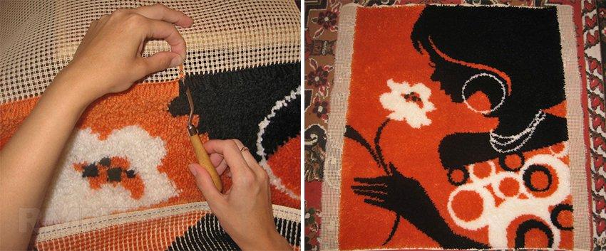 Плетение коврика из пряжи