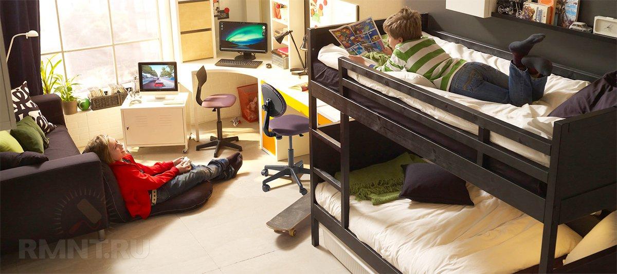Удачное решение для как бы детской — двуэтажная, вообщем то, кровать