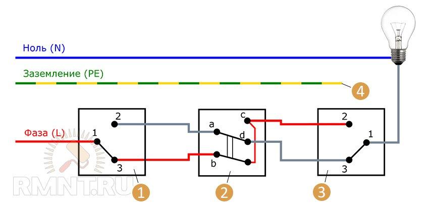 1, 3 — проходные выключатели;