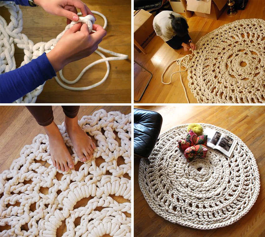 Толстые нитки для вязания ковриков крючком 91