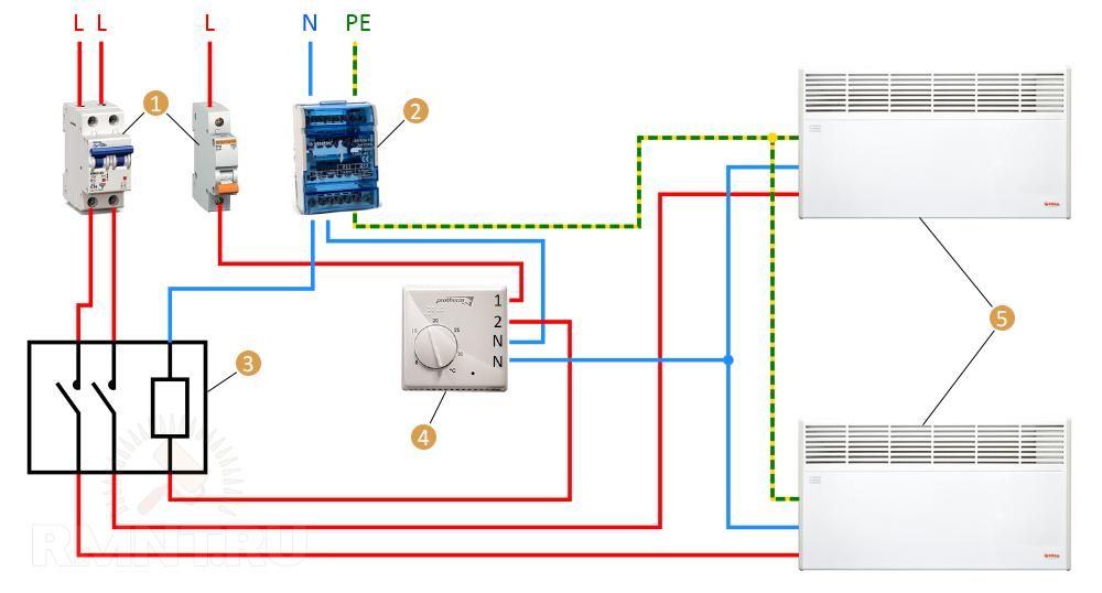 Схема подключения конвекторов через контактор