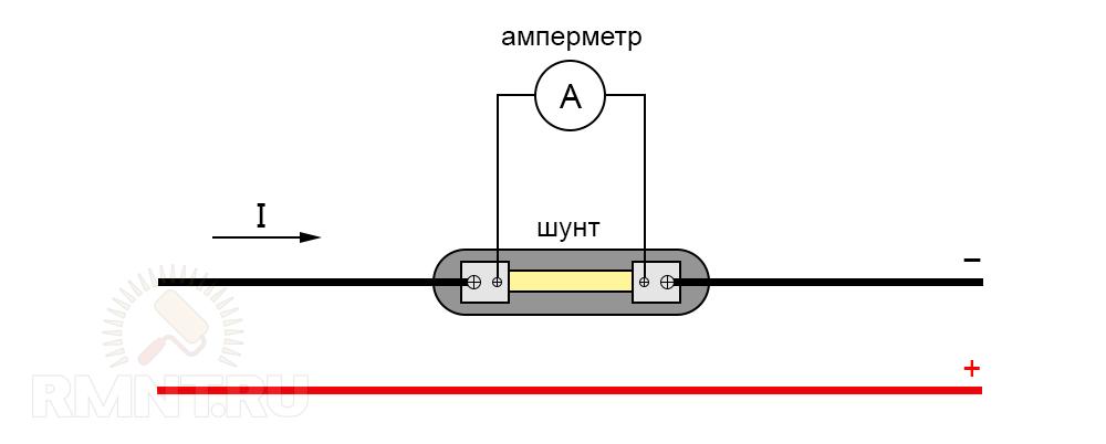 Подключение амперметра через шунт