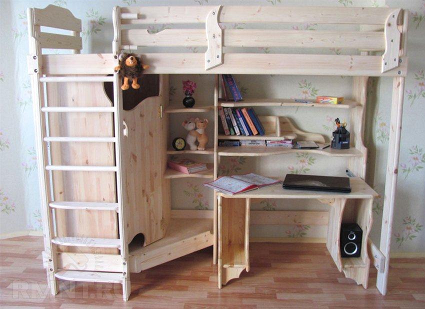 Кровать-чердак с рабочей зоной своими руками