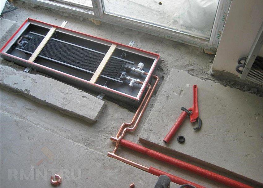 Подключение встраиваемого в пол радиатора