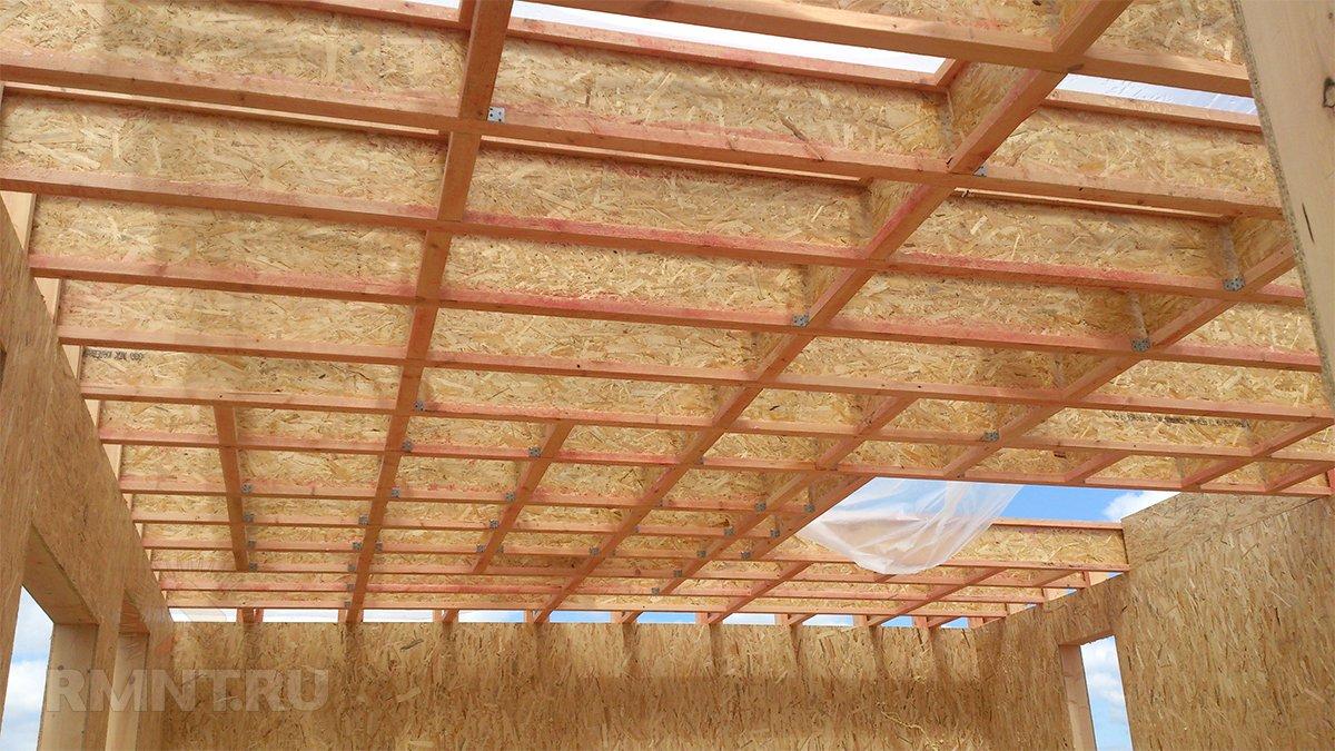 Перекрытие каркасного дома из двутавровых балок