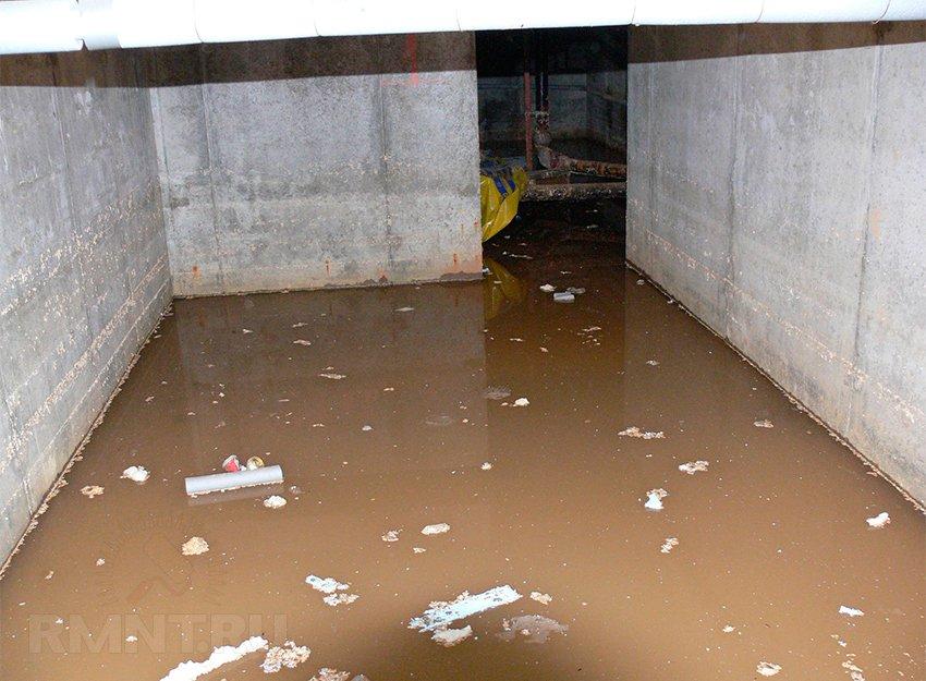 Затопление подвала с бетонным полом