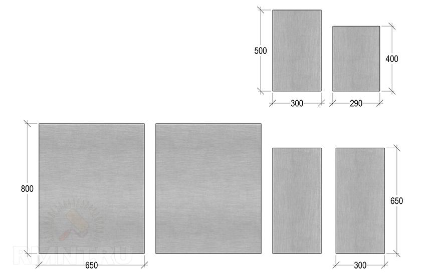 Размеры деталей для топки каменки
