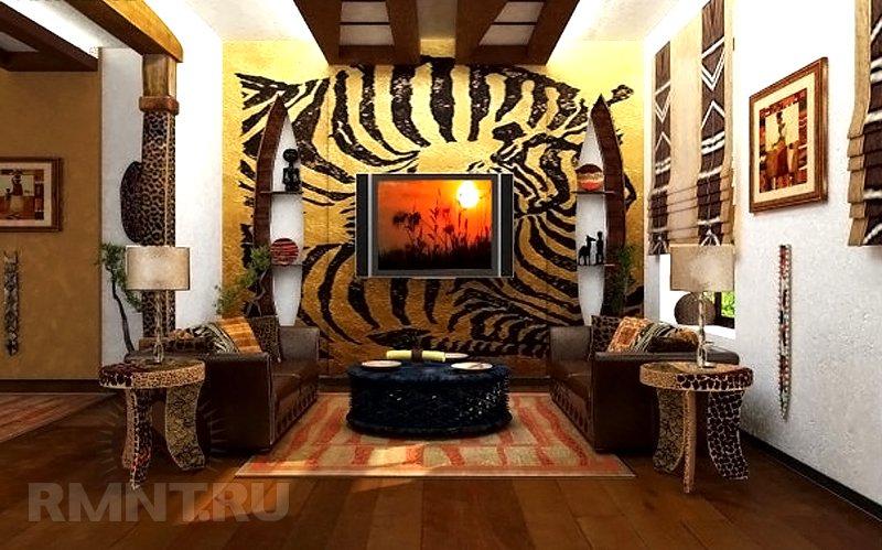 Интерьер с обоями тигра