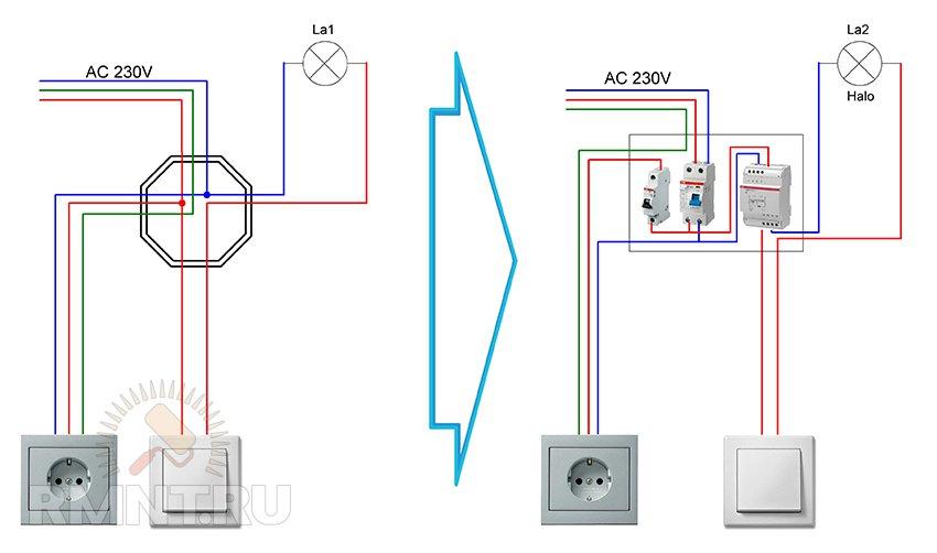 Схема и монтаж освещения