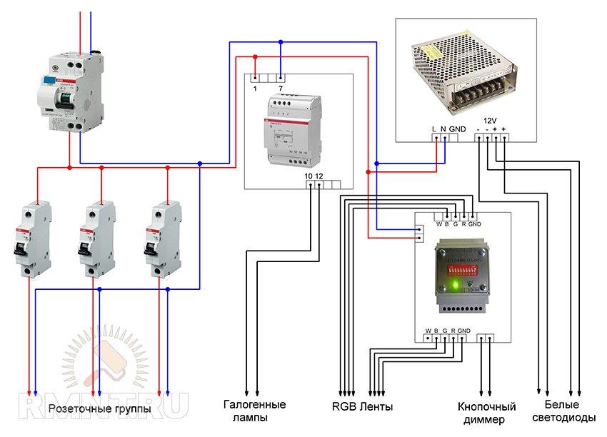 Схема освещения под лампы 12V. Особенности монтажа низковольтных сетей