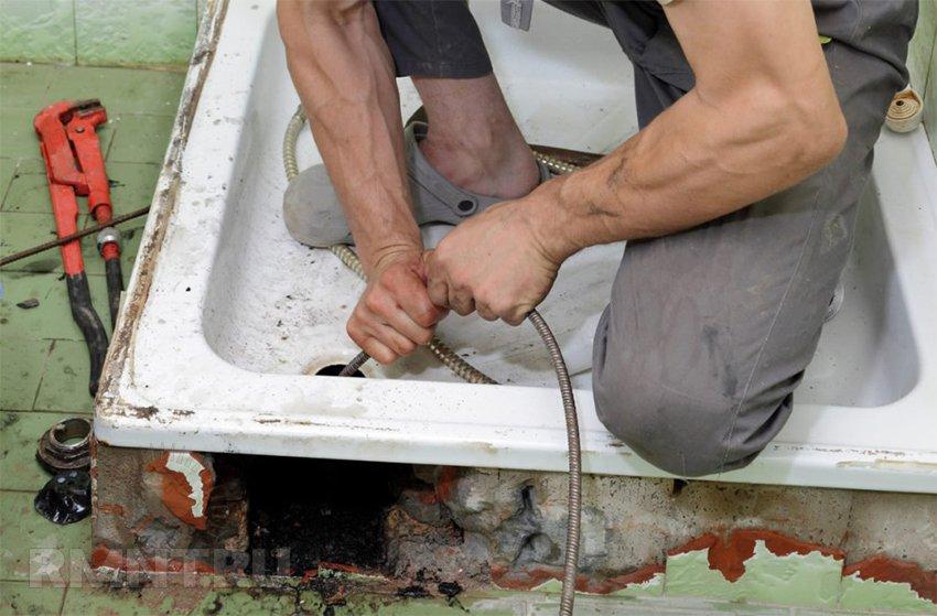 Прочистка и устранение засора в раковине и канализации