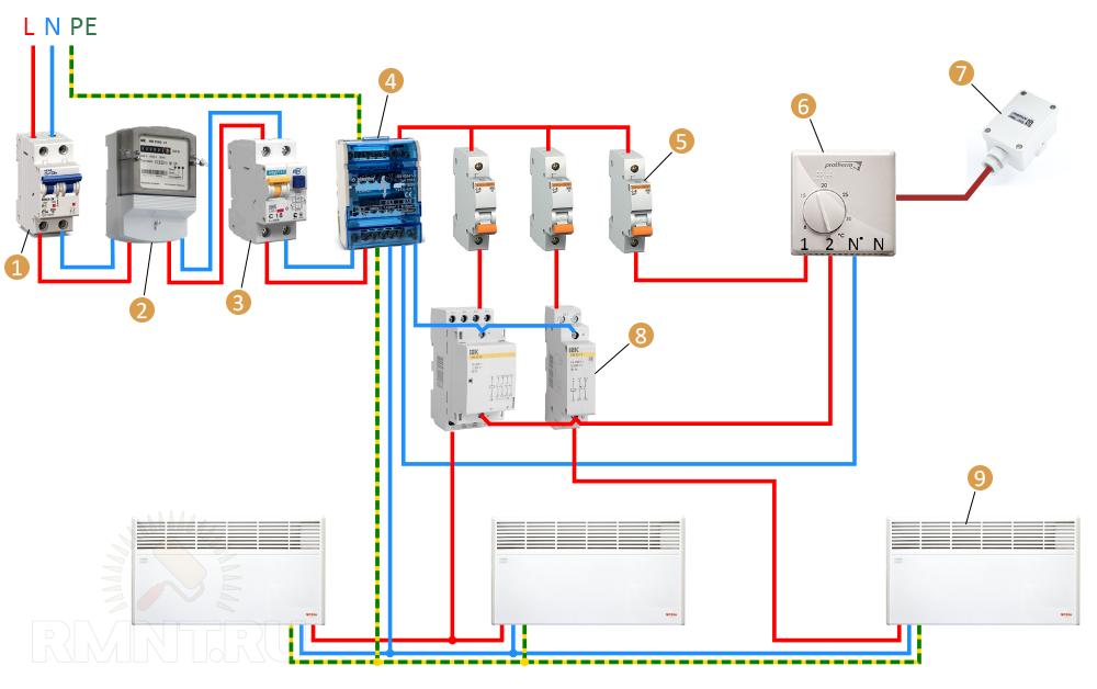 Схема подключения электрических конвекторов