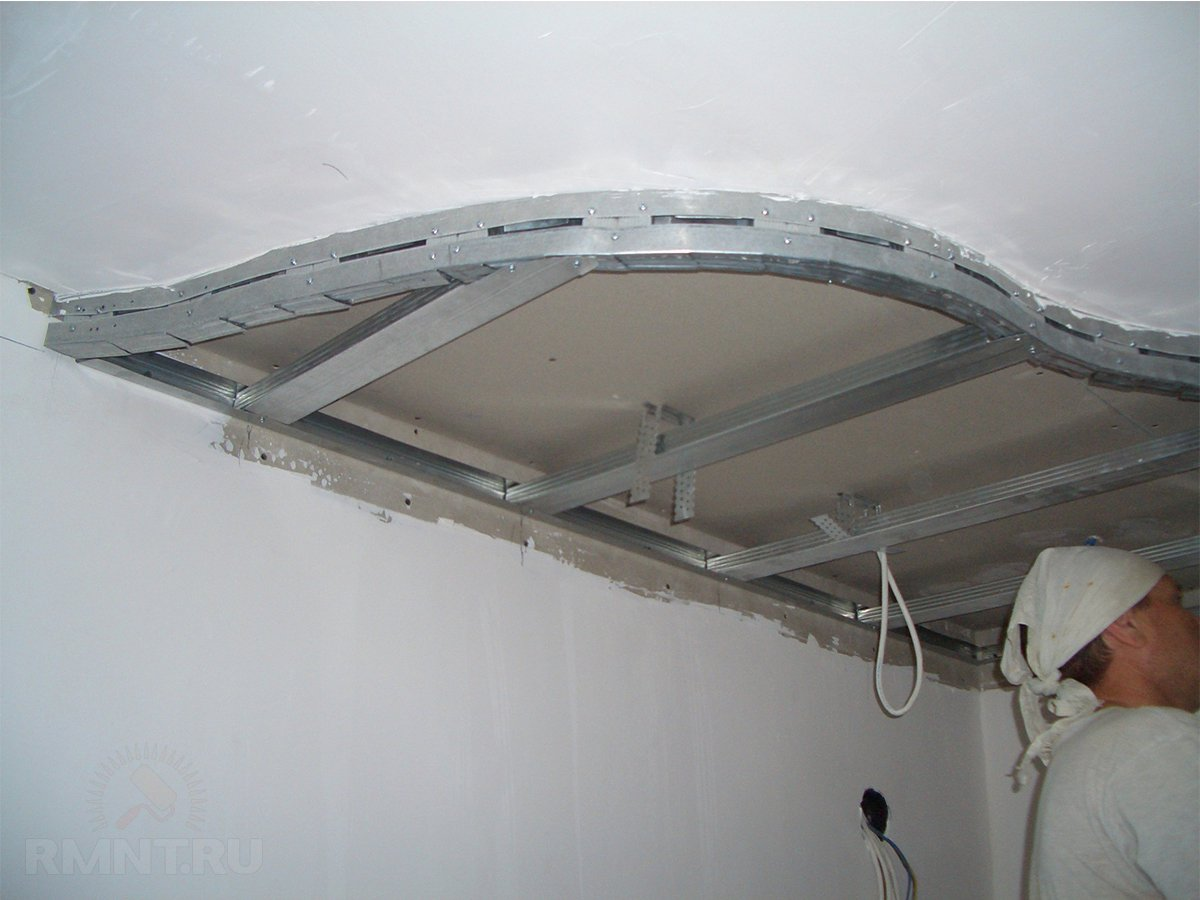 Потолок из гипсокартона и натяжной своими руками фото
