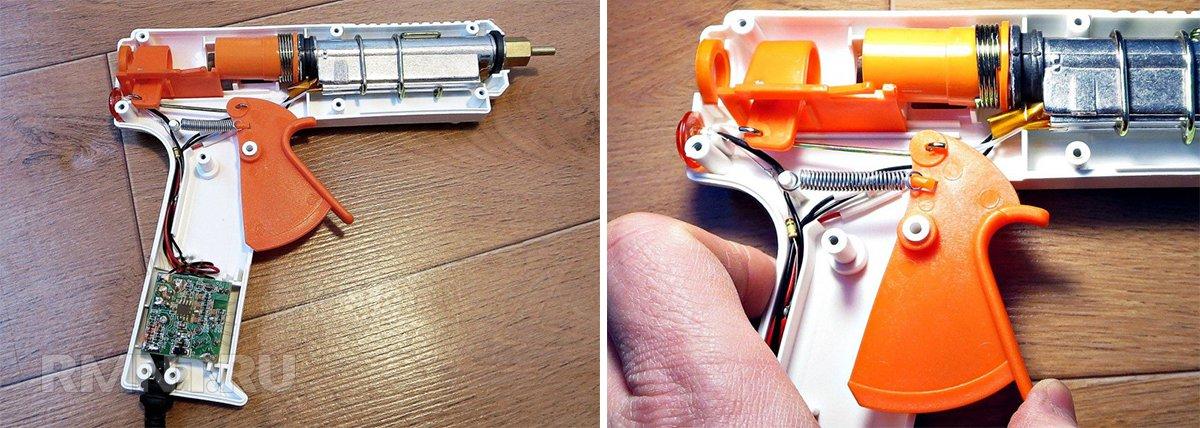 Пример внутреннего устройства клеевого термопистолета