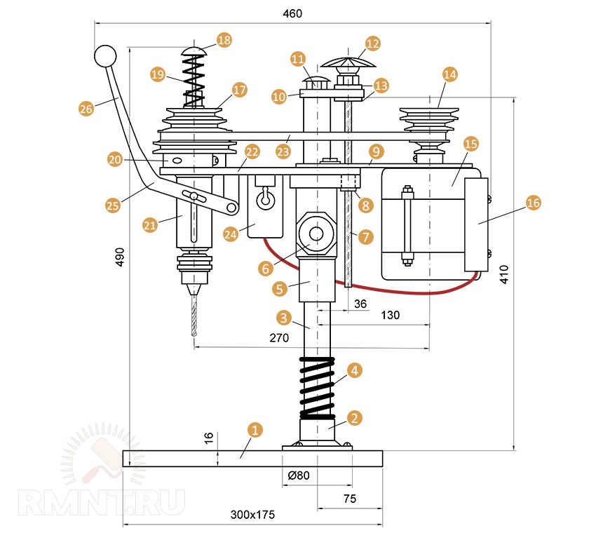 Чертёж сверлильного станка с двигателем