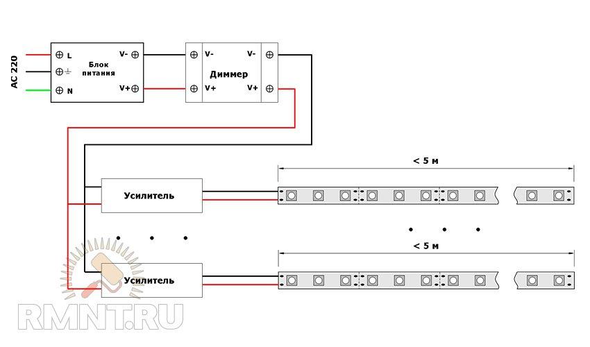 Схема включения светодиодных лент для подсветки