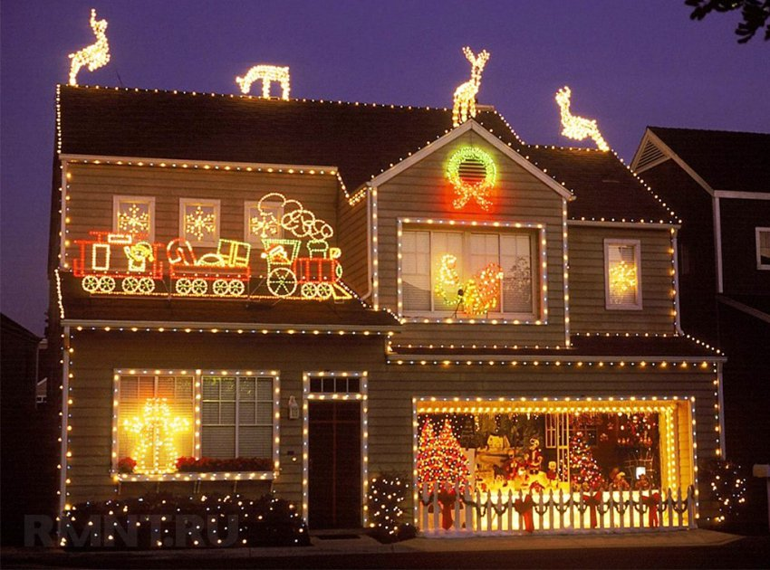 Украшаем фасад дома к новому году своими