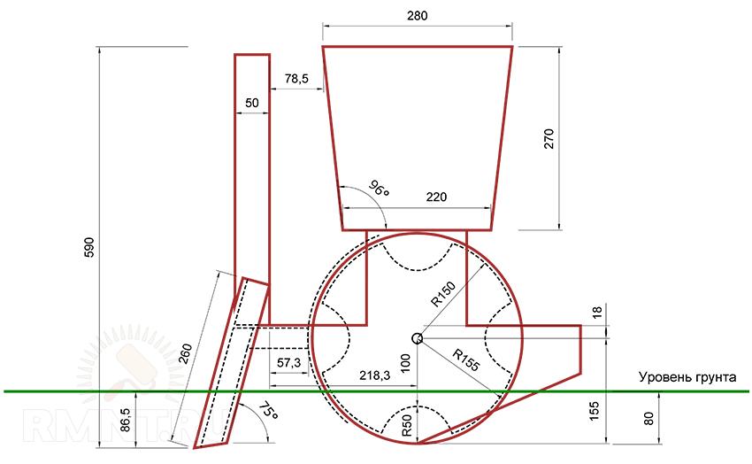 Картофелесажалка для культиватора своими руками размеры чертеж картинки 87