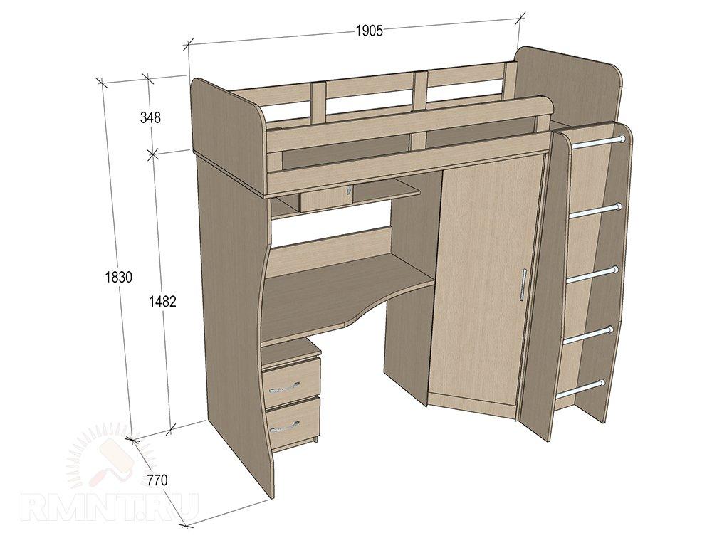 Кровать-чердак — чертеж с размерами