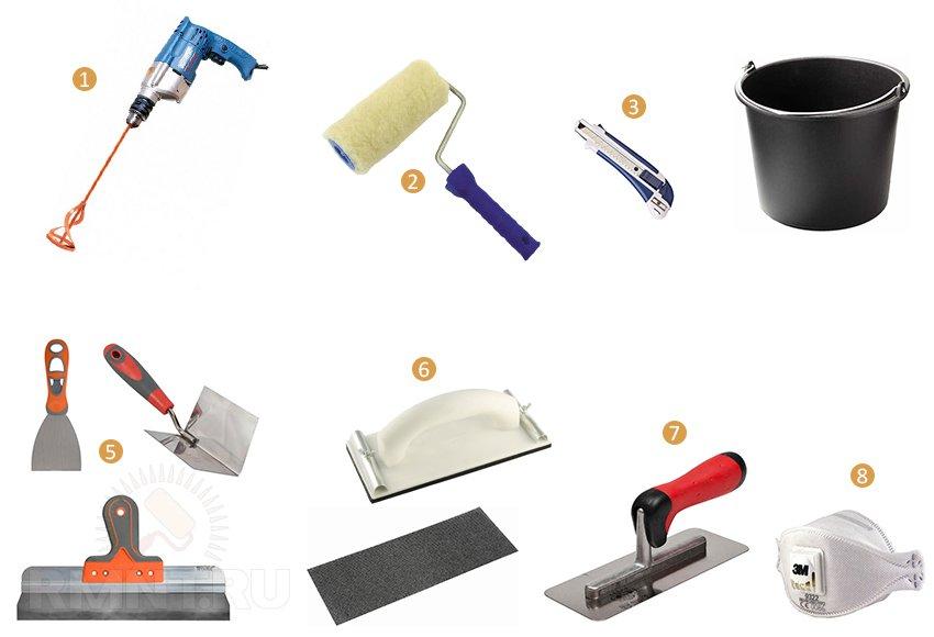 Инструменты для шпаклевки гипсокартонного потолка