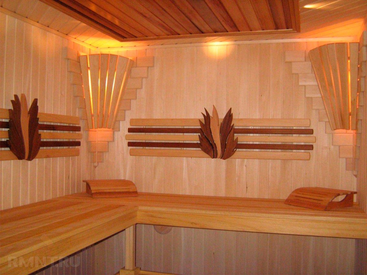 Внутренний интерьер бани своими руками 9